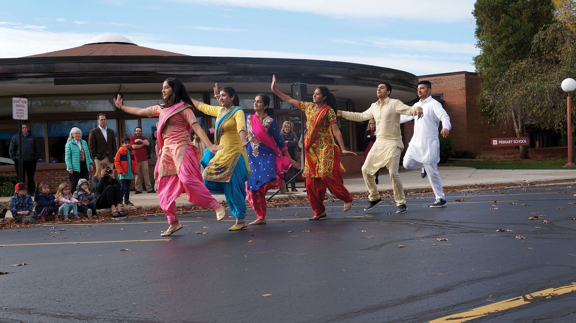 Students dancing during Prairie's celebration of Diwali.